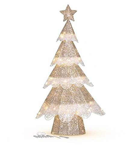 4 pre lit champagne mesh glitter outdoor christmas tree decoration