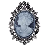 vintage flower pins - Lux Accessories Antique Blue Cameo Brooch Burnished Silvertone Flower Rhinestone