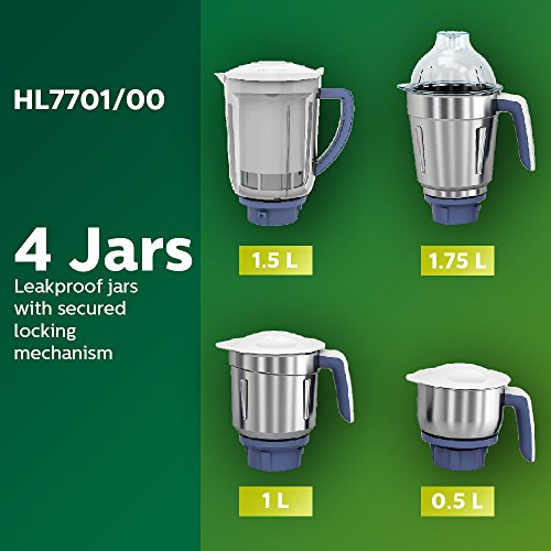 Philips Viva Collection HL7701/00 Mixer Grinder, 4 Jars