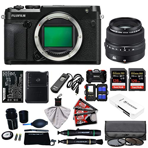 Fujifilm GFX 50R Medium Format Digital Camera Body with 63mm f|2.8 R WR Lens + 128GB Cards + Battery + Charger + Filters + Kit