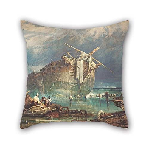 Pillowcase Of Oil Painting Samuel Prout - Salving From The Wreck,for Lover,sofa,outdoor,teens Girls,seat,kids Room 16 X 16 Inches / 40 By 40 Cm(twice (Colour By Numbers Halloween Sheets)