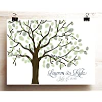 Wedding guest book alternative Woodgrain look thumbprint tree poster with lovebirds on branches