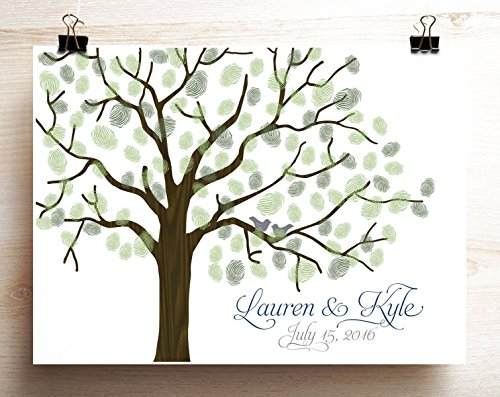 Wedding Guest Book Alternative Woodgrain Look Thumbprint Tree Poster with Lovebirds on Branches]()
