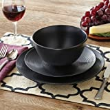 all black plates and bowl sets - Better Homes and Gardens Matte Swirl 12-Piece Dinnerware Set, Black
