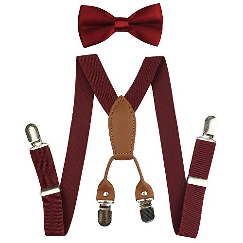 - Suspenders Set for Kids, Polyester Material 4 Clips with Bowtie (Wine Red)