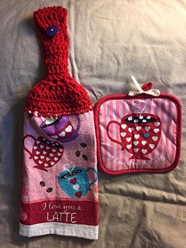 - Free ship to USA - 1 CROCHET KITCHEN hand TOWEL LIGHT weight terry cloth and Coordinating hot pad - Happy Valentine's Day - Love You Latte coffee cups - Cherry Red 100% acrylic yarn crochet top