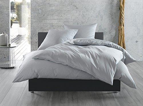 Mako-Satin Baumwollsatin Bettwäsche uni einfarbig zum Kombinieren (155 cm x 200 cm, Grau)