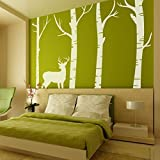 Bedroom Birch Tree Wall Decal Forest with Deer Vinyl Sticker Living Room Wall Art Decoration (Large,Color C)