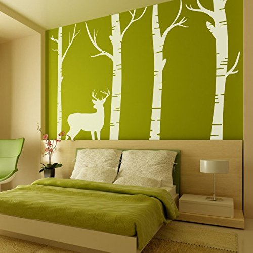 Bedroom Birch Tree Wall Decal Forest with Deer Vinyl Sticker Living Room Wall Art Decoration (Large,Color (Birch Tree Deer Wall Decal)