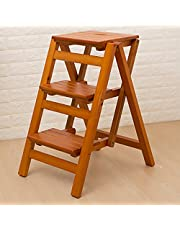 Step Stools Step Stool Solid Wood,Folding Ladder Shelf 3 Steps-Flower Stand Household Multifunction Ascend Ladder Small Ladder (Color : 4#)
