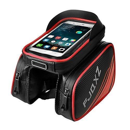 - fjqxz Bike Bag Bicycle Mobile Cell Phone Bag Case Top Tube Bag Waterproof Handlebar Saddle Bag with Touch Screen Phone Case