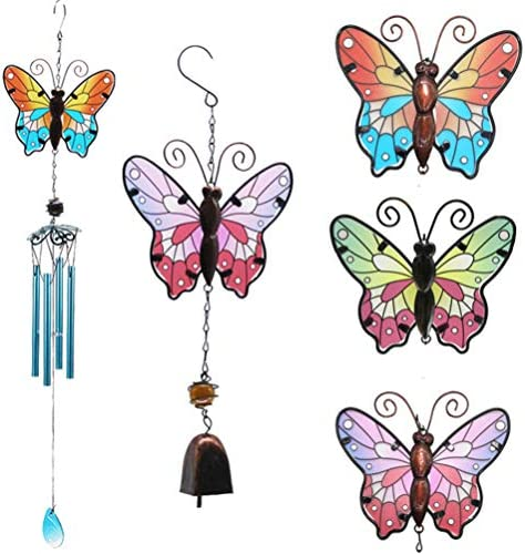 Yarnow 蝶の風鈴、家のテラスのポーチの誕生日プレゼントのための金属の庭のチャイムの風鈴(緑)