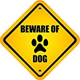 "Beware Of Dog Warning Sign Bumper Sticker Decal 5"" X 5"""