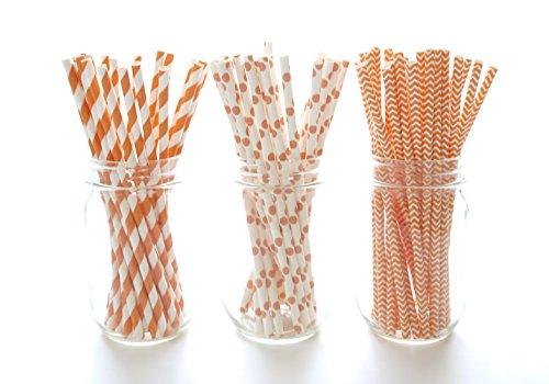 Autumn Fall Party Straws, Orange & White Straws, - Polka Dot Paper Plates Orange