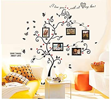 BOGZON Kiss Birds Trees Hearts Leaves Black Photo Picture Frame Decal  Removable Wall Decals Large Wall