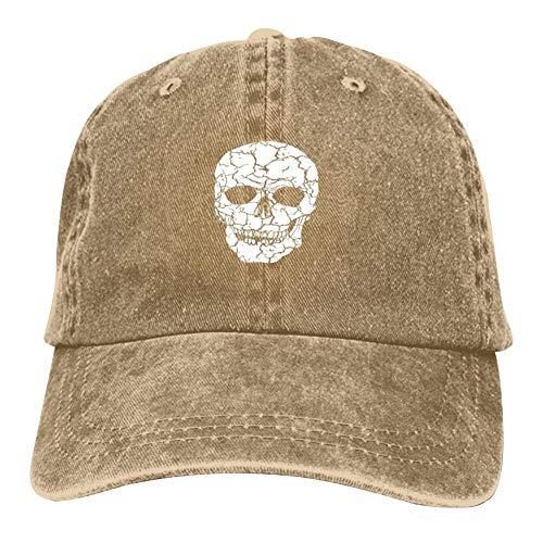 White Art Skull Print Men's Women's Washed Vintage Jeans Baseball Cap Truck Driver Daddy Cap Natural -