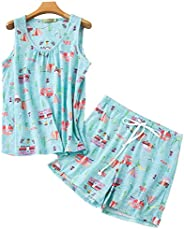 VECARDI Women's Cute Cotton Sleepwear Casual Print Tank&Short Pajamas Se