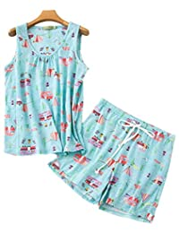 VECARDI Women's Cute Cotton Sleepwear Casual Print Tank&Short Pajamas Sets M-XXL