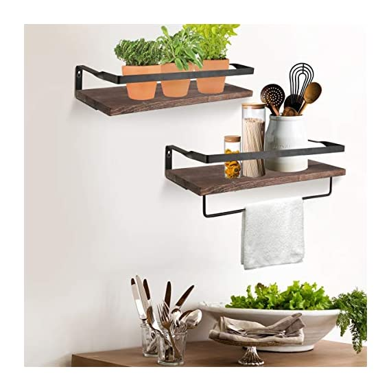 Awekris Rustic Wood Wall Storage Shelves Set of 2, Floating Shelves Wall Mounted, Wall Decorative Shelf Display Storage Rack for Living Room, Kitchen, Bathroom, and Bedroom - Functional and Decorative Storage Shelves: Features rustic style with torched finish wood and industrial metal brackets, decorative and great addition or accent to any wall space of bedroom, bathroom, kitchen and more. Sturdy and easy to install: Floating shelves constructed of high quality wood boards and industrial matte metal brackets super sturdy and easy to follow instruction to assemble and put up Removable Towel Holder: The decorative wall shelves has a separate towel holder could install under the floating shelf or installed to a wall. Install as needed. - wall-shelves, living-room-furniture, living-room - 517eHWqi78L. SS570  -
