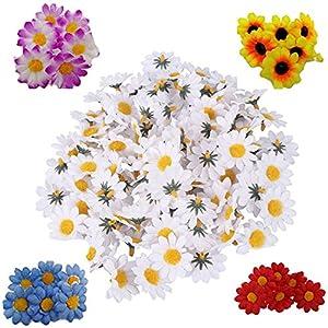 Fabric Daisy Flower Heads,100Pcs Artificial Gerbera Daisy Fake Flowers Heads Sunflower for Easter Bonnet DIY Cake,Wedding Party Decorations Flowers Craft 2