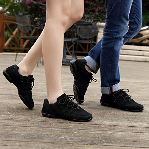 Sqiao-x- Chaussures De Danse Pour Hommes Et Femmes Universal Rubber Floor-cloth Noir Carré Professionnel Danse Latino-américaine Danse Chaussures De Danse, Noir, 44