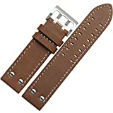 MSTRE NP125 22mm Watch Band Suitable for Hamilton Watches with Steel Buckle for Men&Women (22mm, Brown)