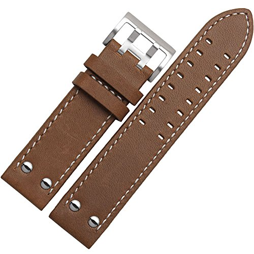 Leather Brown Hamilton (MSTRE NP125 22mm Watch Band Suitable for Hamilton Watches with Steel Buckle for Men&Women (22mm, Brown))