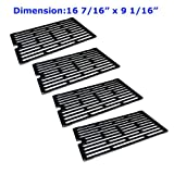 61271 (4-pack) Porcelain Cast Iron Cooking Grid Replacement for Select Gas Grill Models By Chargriller, Jenn-air and Others