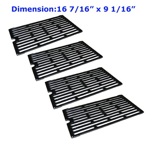 61271 (4-pack) Porcelain Cast Iron Cooking Grid Replacement for Select Gas Grill Models By Chargriller, Jenn-air and Others by payandpacked
