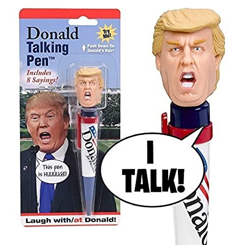 Donald Talking Pen - 8 Different Sayings - Trump's REAL VOICE - Just Click and Listen - Funny Gifts for Trump & Hillary Fans - Superior Audio Quality -Replaceable Batteries Included - Trump (Laughing Dog Ball)