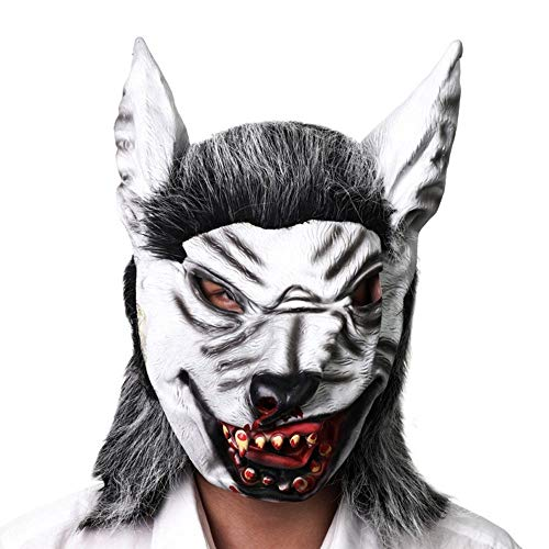 Wetietir Festival Mask Simulation Wolf Head Mask Halloween Horror Scary Animal Mask High-Grade Latex Hood Dance Party Performance Props mask Costume Mask -