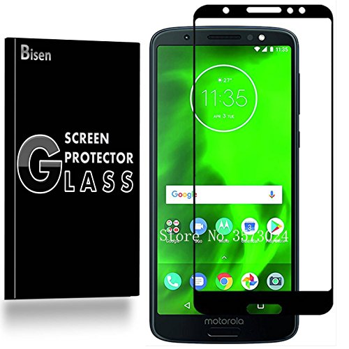 [2-PACK BISEN] Motorola Moto G6 Tempered Glass Screen Protector [Full Coverage], Edge-To-Edge Protect, Anti-Fingerprint, Anti-Bubble, Lifetime Protection