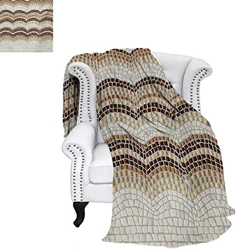 warmfamily Beige Summer Quilt Comforter Gradient Colored Mosaic Waves Setting Antique Roman Royal Dated Retro Patterns Digital Printing Blanket 50
