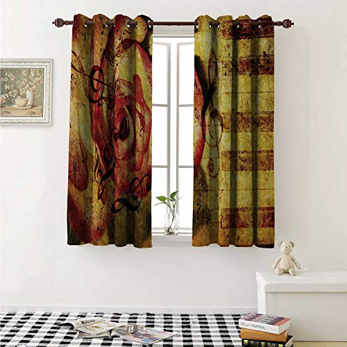 shenglv Rose Waterproof Window Curtain Vintage Background with Piano Keyboard and Majestic Rose Love Valentines Art Theme Curtains Living Room W55 x L45 Inch Cream Red ()