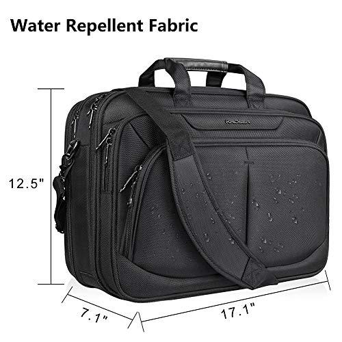 """KROSER 17.1"""" Laptop Bag For 17"""" Laptop Briefcase Water-Repellent Expandable Computer Bag Business Messenger Bag Shoulder Bag for School/Travel/Women/Men-Black"""