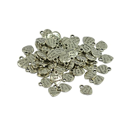 Jili Online Vintage Antiqued Silver Tone Mini Heart Charm Pendant Stamped love and beloved Letter - 50 Pcs