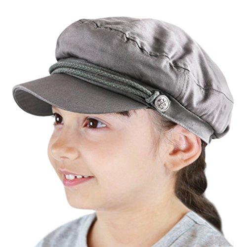 The Hat Depot Black Horn Kids Cotton Greek Fisherman's Sailor Fiddler Driver Hat Cap ... (Charcoal)]()