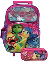 Disney Pixar Inside Out Large Rolling Backpack with Pencil Case