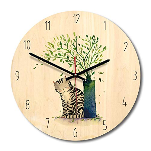 Price comparison product image XMYL Wooden Wall Clock, Mute Creative Cartoon Animal Pattern Wall Decoration, Suitable for Children's Bedrooms,  Living Room,  Kitchen, D