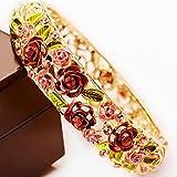 Starshiny Red Rose Retro Flower Leaf Enamel Gold plating Bangle Bracelet with Nature Crystals