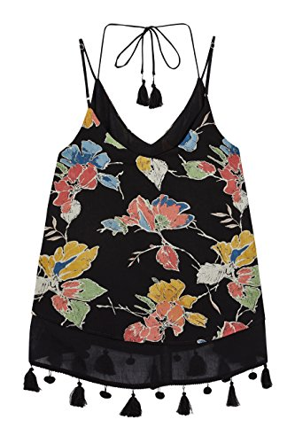 next Mujer Camisola Borlas Regular Camiseta Top Negro Floral