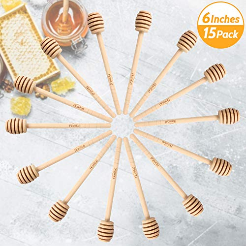 HANSGO Honeycomb Stick, 15PCS 6 Inch Wood Honey Dipper Sticks Honey Stirrer Honey Wand for Honey Jar Dispense Drizzle Honey, Wedding Party Favors