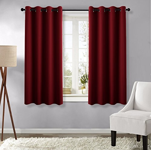 Burgundy Blackout Curtain Panels - (Burgundy Red Color) 52 by 63 inches, 1 Set, Thermal Insulated Grommet Blackout Drapes for Basement Window by (Red Window Treatment)