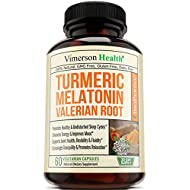 Turmeric Curcumin Melatonin Valerian Supplement. Ginger L Theanine Cinnamon Bioperine. Sleep Aid, Antioxidant Properties for Occasional Joint Pain Relief, Supports Inflammatory Response. (60)