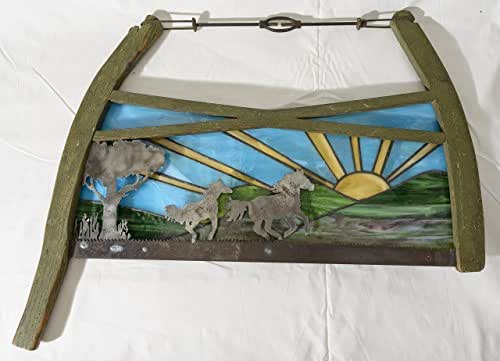 Made to Order- Vintage Bow Saw with rustic plasma cut Horses running with a stained glass sky- plasma cut metal art | Wall, Art Decor