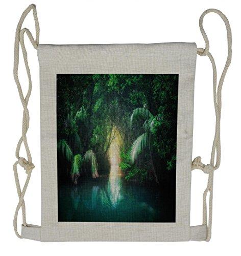 Ambesonne Jungle Drawstring Backpack, Mangrove Rainforest Lake, Sackpack Bag by Ambesonne