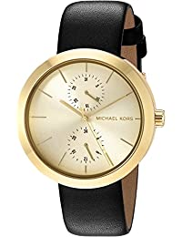 Michael Kors Women's Quartz Stainless Steel and Leather Automatic Watch, Color:Black (Model: MK2574)