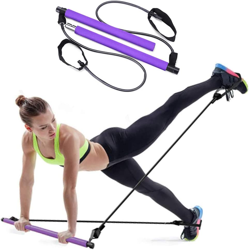 CHONGQI Pilates Bar Kit with Resistance Bands Yoga Pilates Exercise Stick Portable Muscle Toning Bar for Home Gym Workout Pilates with Foot Loop for Total Body