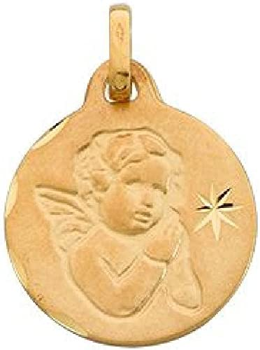 Customisable: Your Message Engraved Free So Chic Jewels Angel Star Medal Pendant Children 9k Yellow Gold