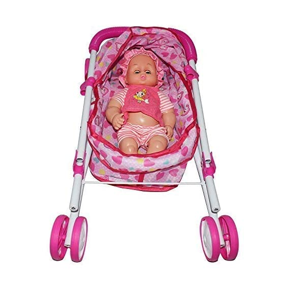 TECHTOY Baby Doll Stroller Foldable Baby Pram for Baby Age 3 Years & Above Fully Assembled Pretend Play Carrier Stroller
